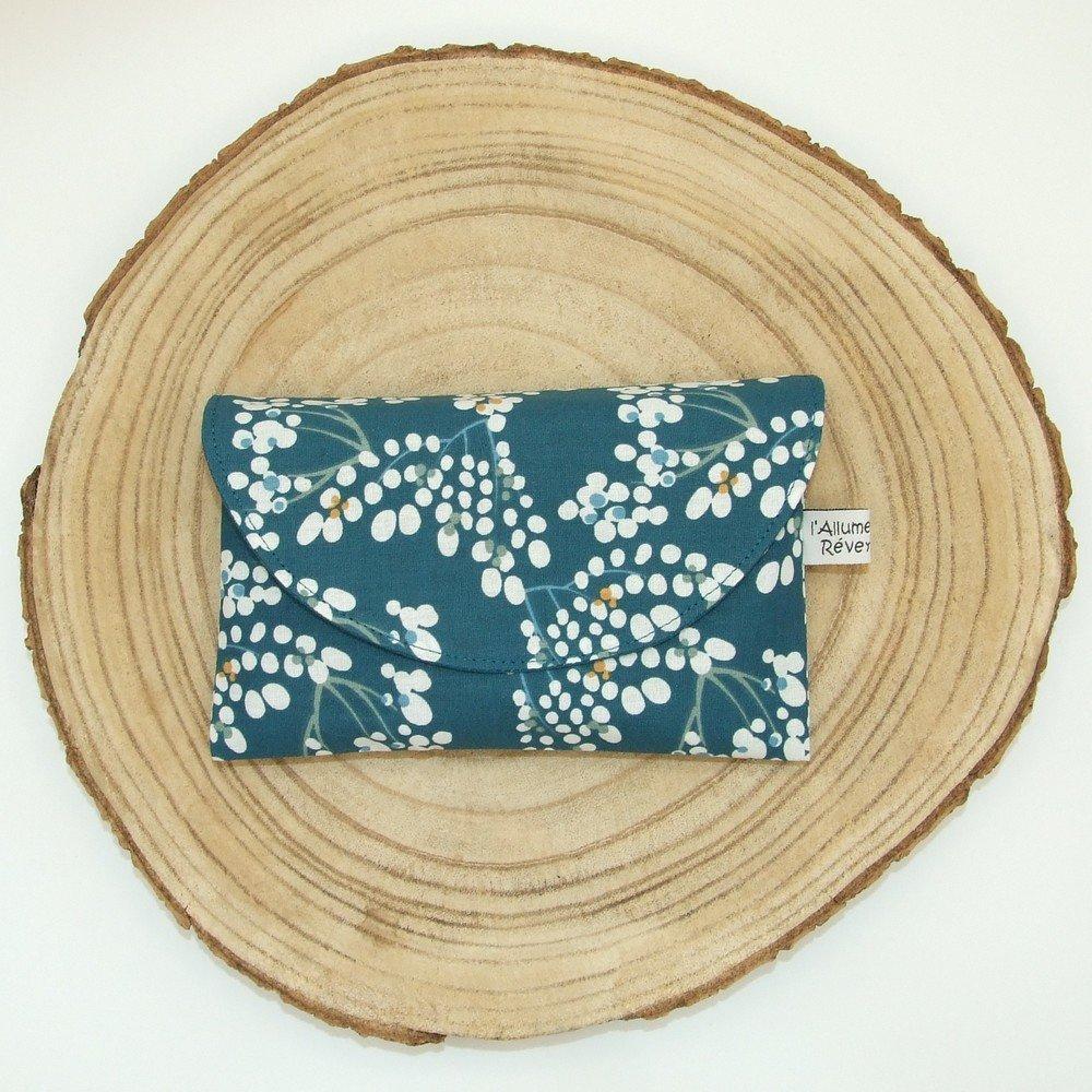 Lingettes lavables tissu floral turqoise, éponge pétrole--2226178760258