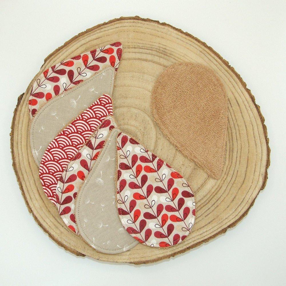 Lingettes lavables tissu graphique bordeaux, éponge beige--2226178765369