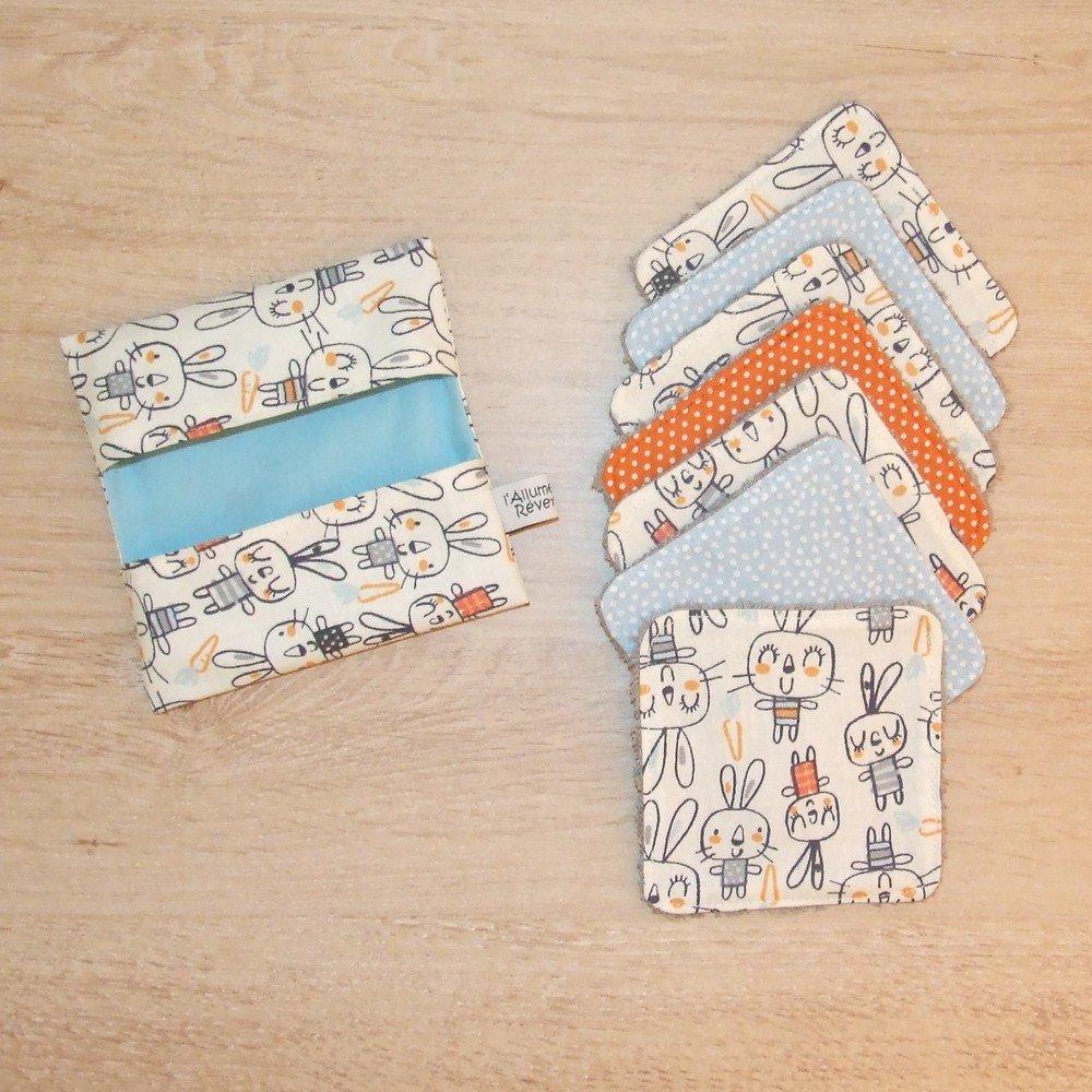 Lingettes lavables tissu lapins, éponge grise--9995529250627