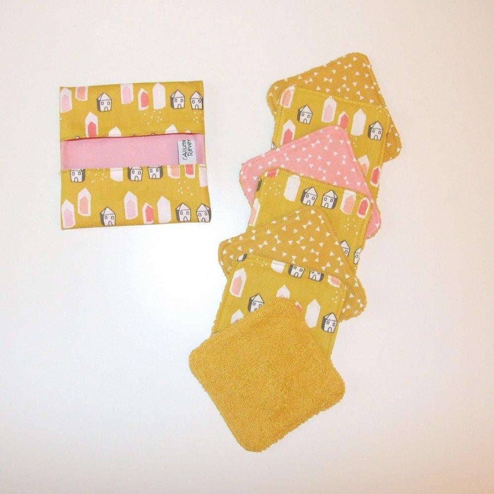 Lingettes lavables tissu petites maisons, éponge jaune--9995432659876