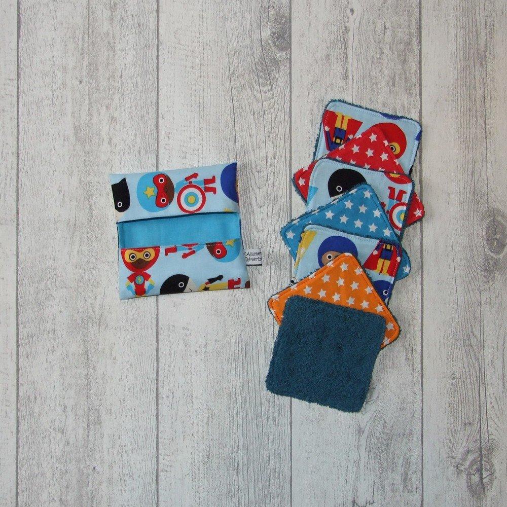Lingettes lavables tissu Super-héros, éponge pétrole--9995765903592