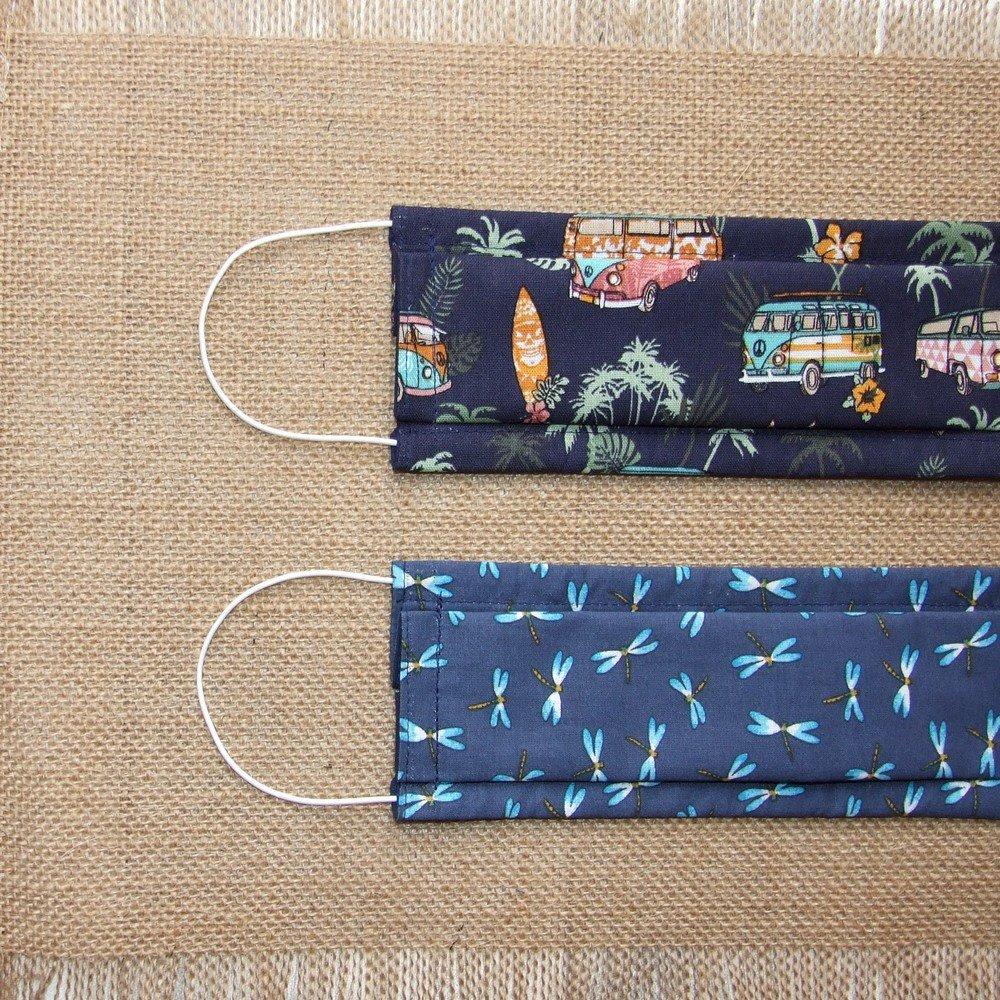 Masque en tissu fleurs turquoise/corail ADULTE -AFNOR---9995957780093