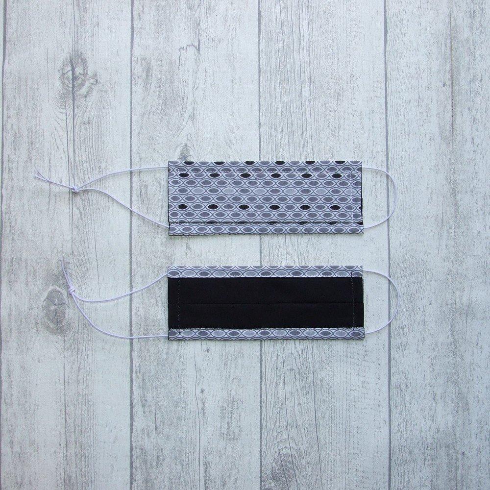 Masque en tissu gris/noir ADULTE -AFNOR---9995957762082