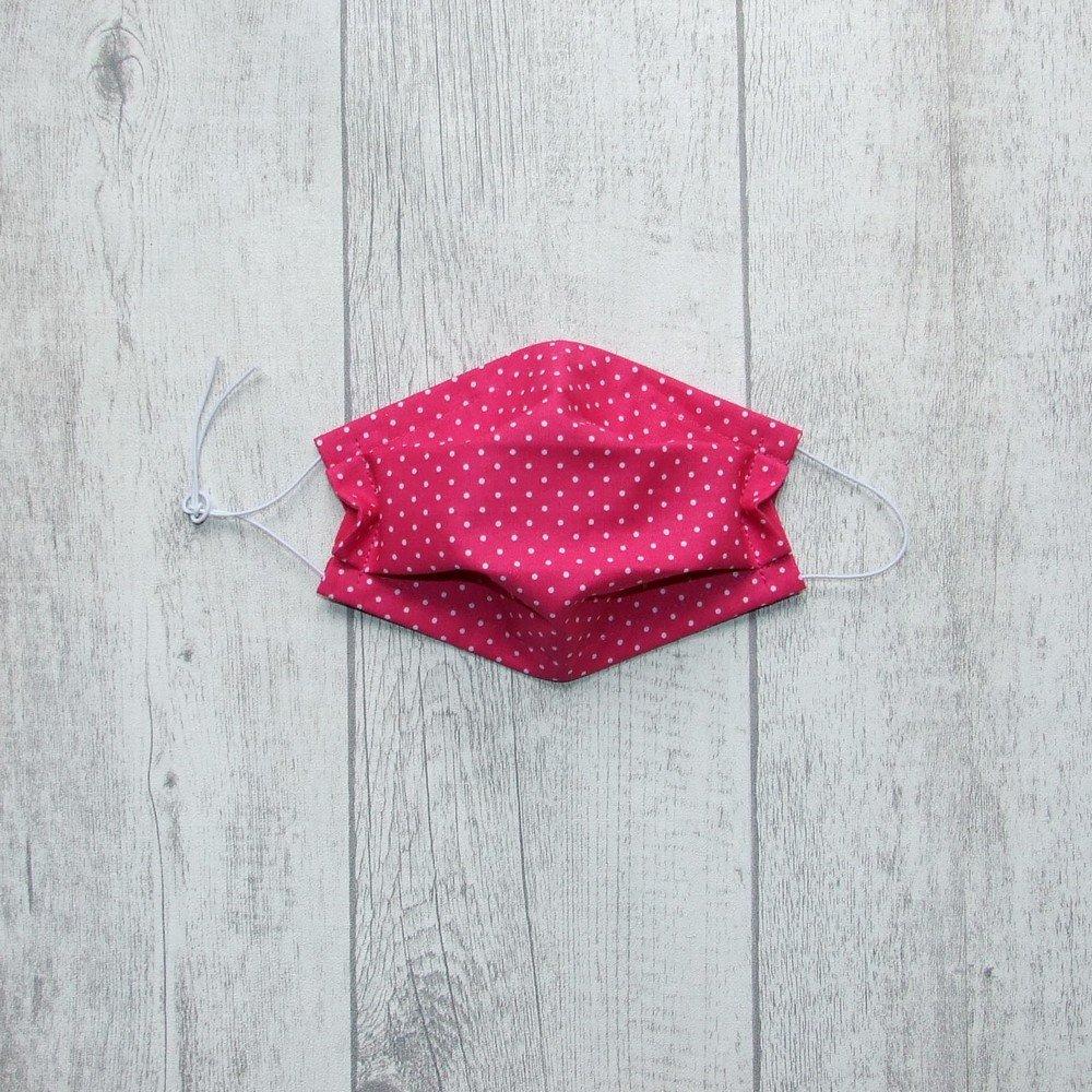 Masque en tissu pois fuchsia ENFANT jusqu'à 8 ans -AFNOR---9995884216009