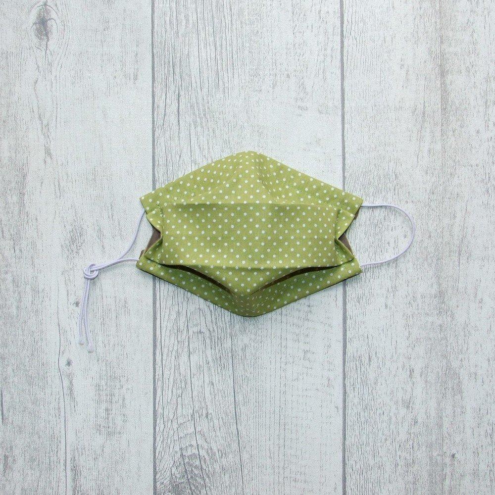 Masque en tissu pois vert ENFANT  jusqu'à 8 ans  -AFNOR---9995897260259