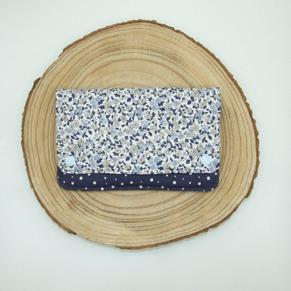 Pochette à barrettes -fleurs bleu ciel/marine---2226194557481