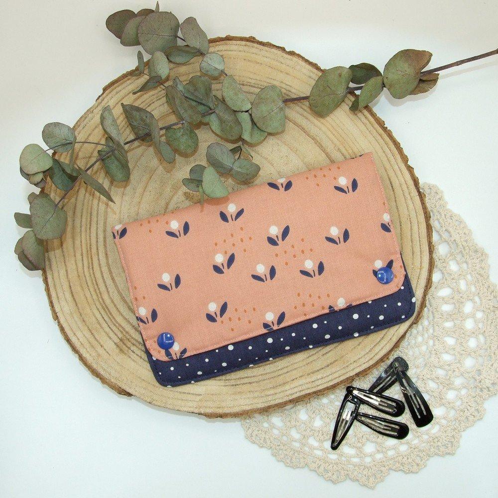 Pochette à barrettes -fleurs rose/marine---2226194545457
