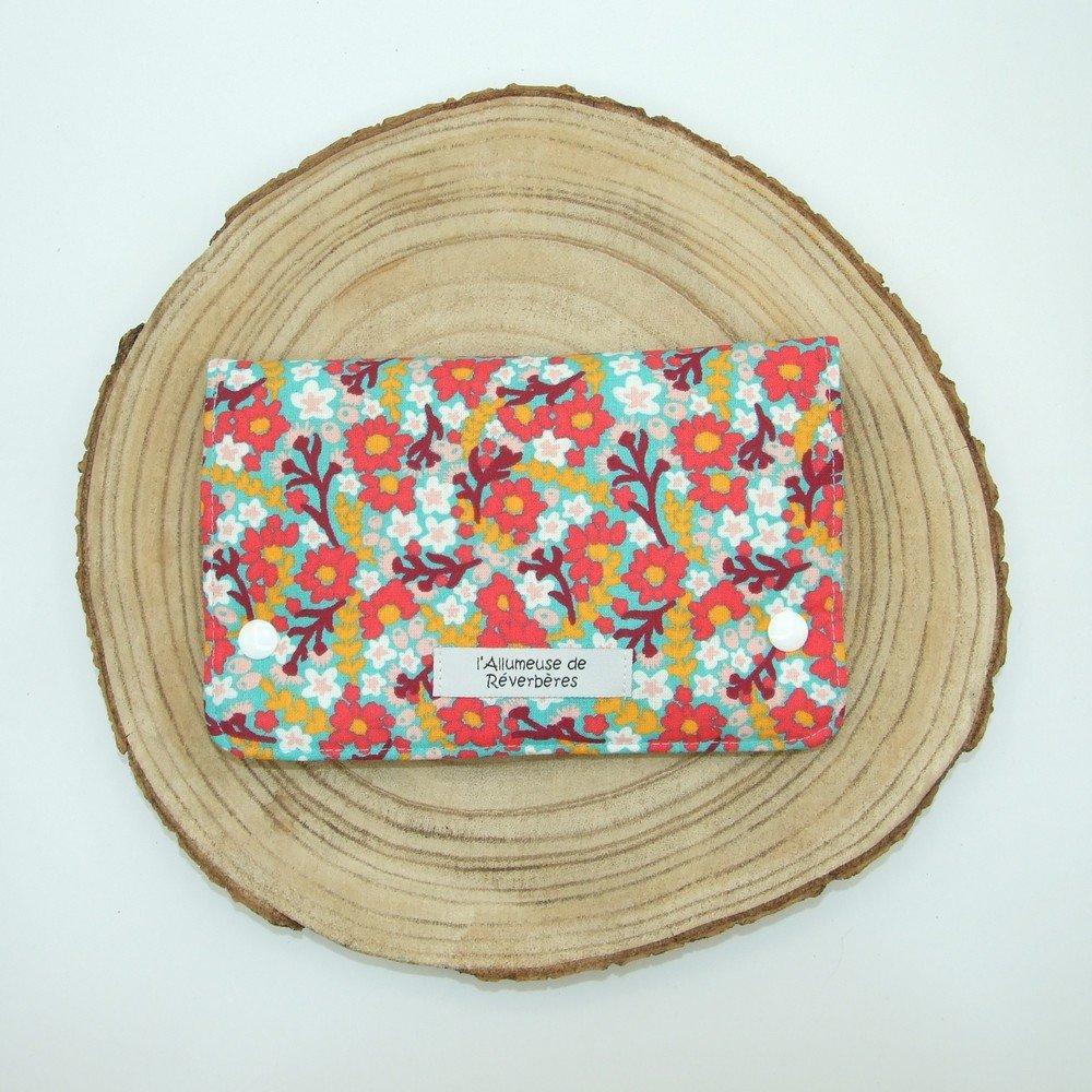 Pochette à barrettes -fleurs rouge/menthe---2226194548359