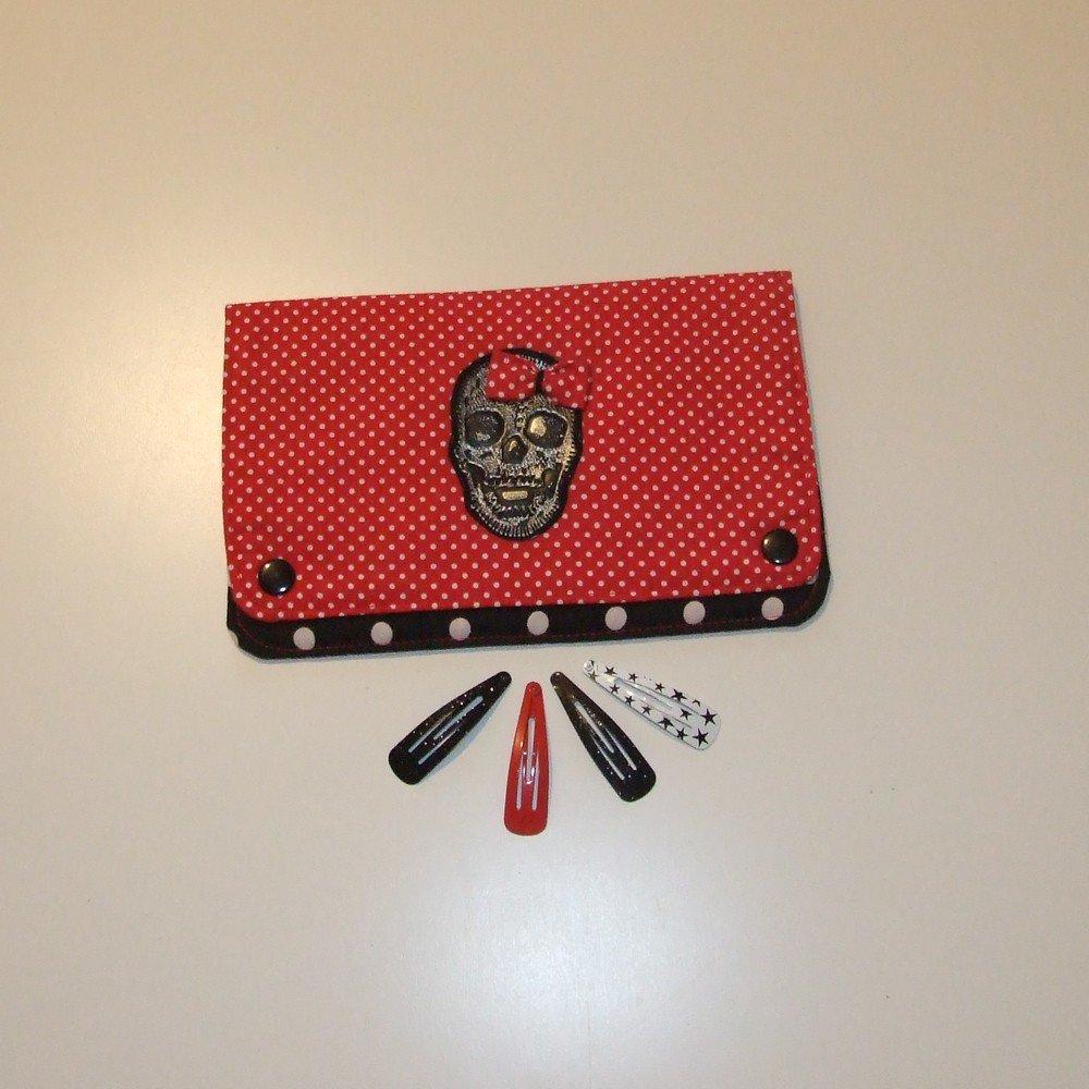 Pochette à barrettes tête de mort et petit noeud à pois rouge et noir--9995160169548