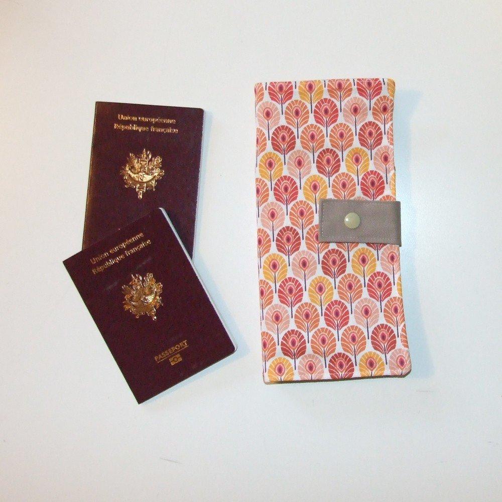 Pochette passeports et billets d'avion, train plumes de paon orange et jaunes--9995378951072