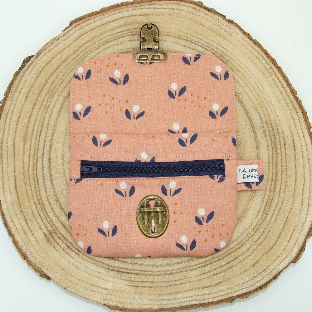 Porte-monnaie imprimé fleurs bleu marine/vieux rose--9996115918020