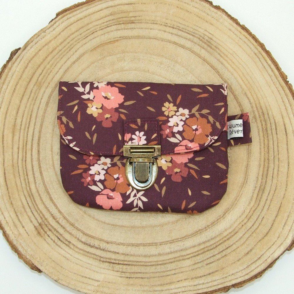 Porte-monnaie imprimé fleurs rose/prune--9996115900278