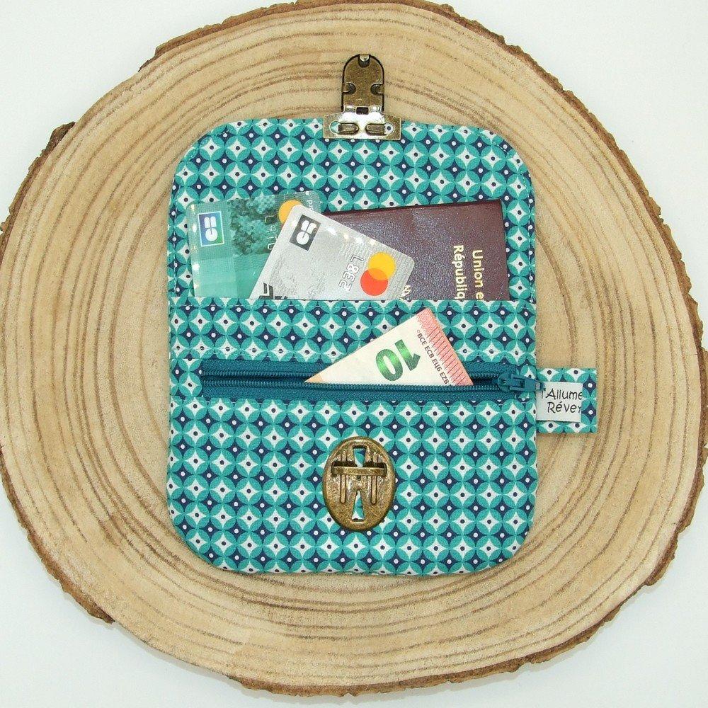 Porte-monnaie imprimé losanges turquoise/bleu marine--9996115906713