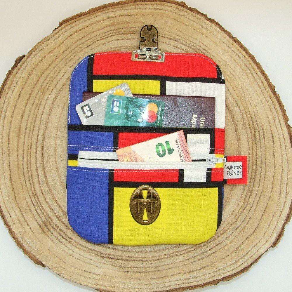 Porte-monnaie imprimé style Mondrian--9996115896748