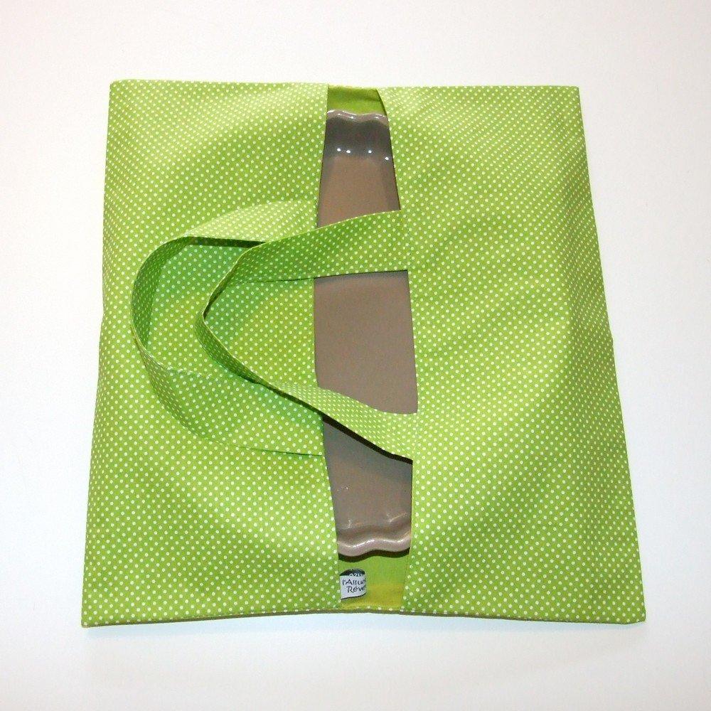 Sac à tarte imprimé pois vert et doublure verte--9995266542597