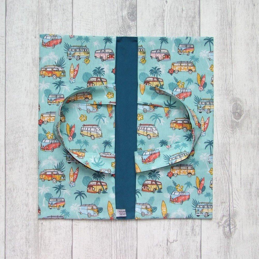 Sac à tarte en tissu coton imprimé combi et palmiers turquoise--9995994791151