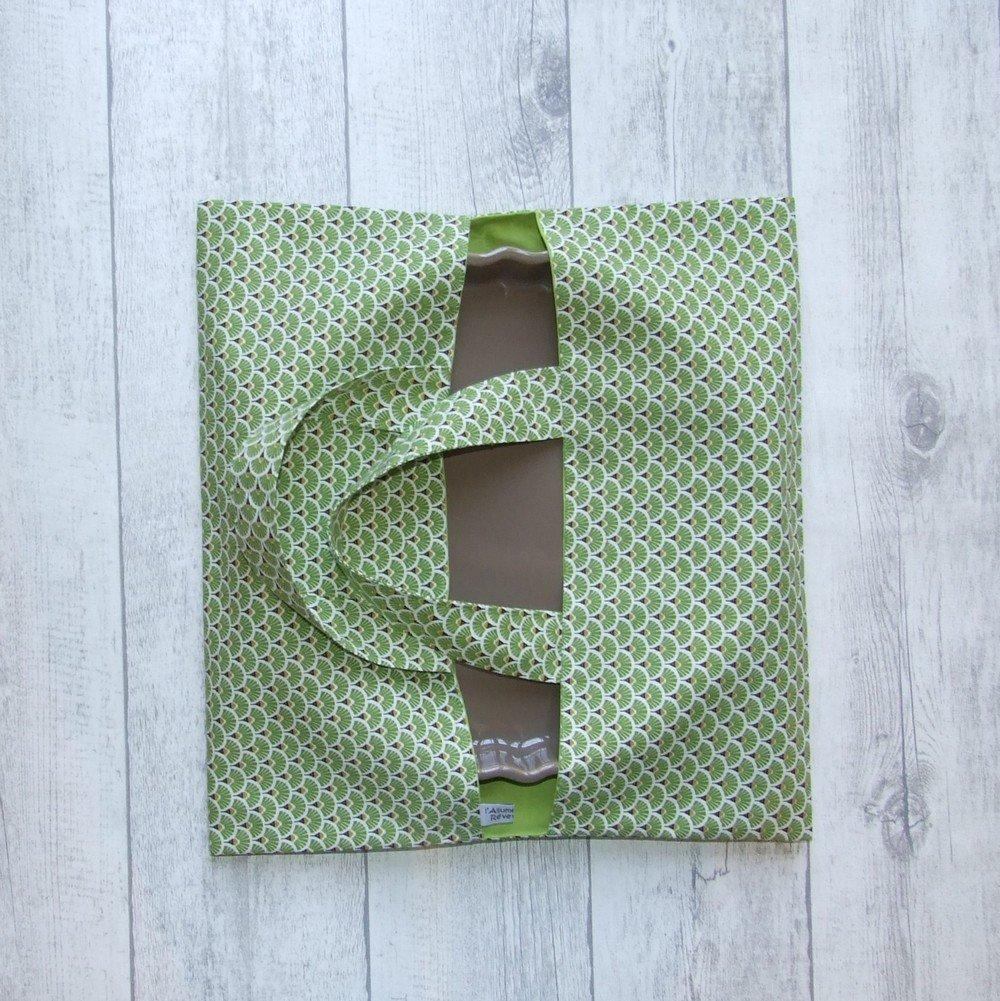 Sac à tarte en tissu coton imprimé éventails verts doublure verte--9995929242376