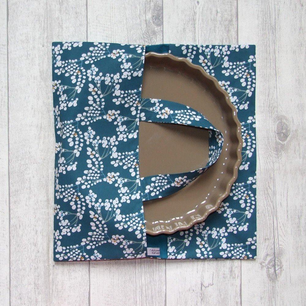 Sac à tarte en tissu coton imprimé fleuri blanc doublure bleu canard--9995994779364