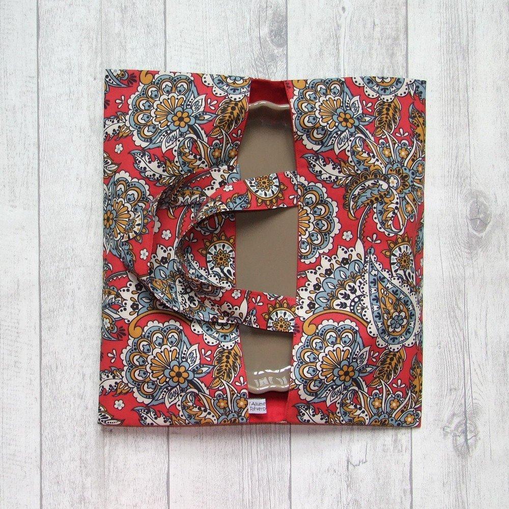 Sac à tarte en tissu coton imprimé fleurs et arabesques--9995994795043