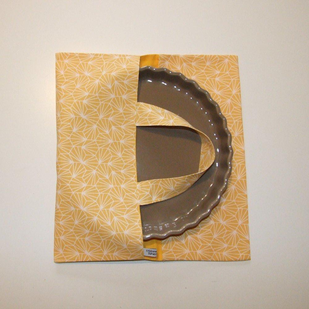 Sac à tarte en tissu coton imprimé origami jaune doublure jaune--2225112020601