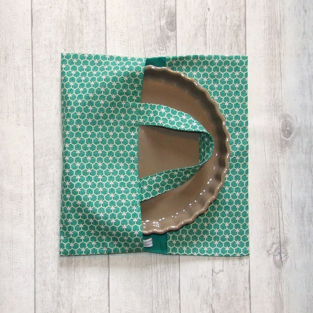 Sac à tarte en tissu coton imprimé prisme d'écailles émeraude doublure émeraude--9995717525001