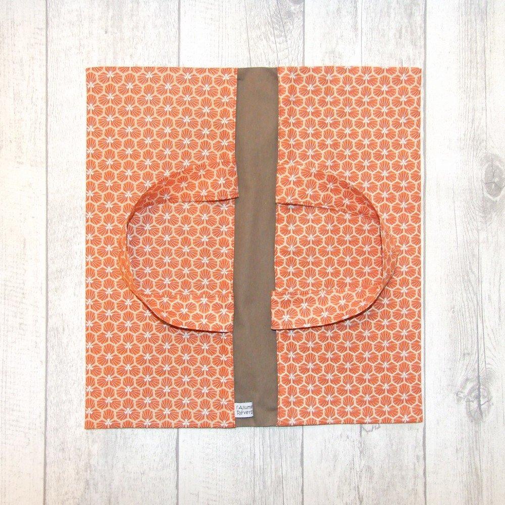Sac à tarte en tissu coton imprimé prisme d'écailles rouge doublure taupe--9995717607684