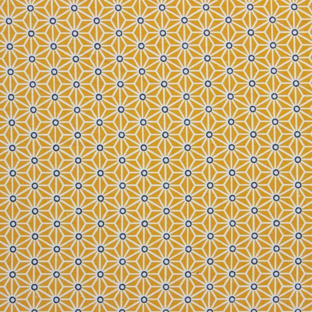Sac à tarte en tissu graphique étoiles et cercles jaune moutarde et bleus doublure bleu marine--9995112001919