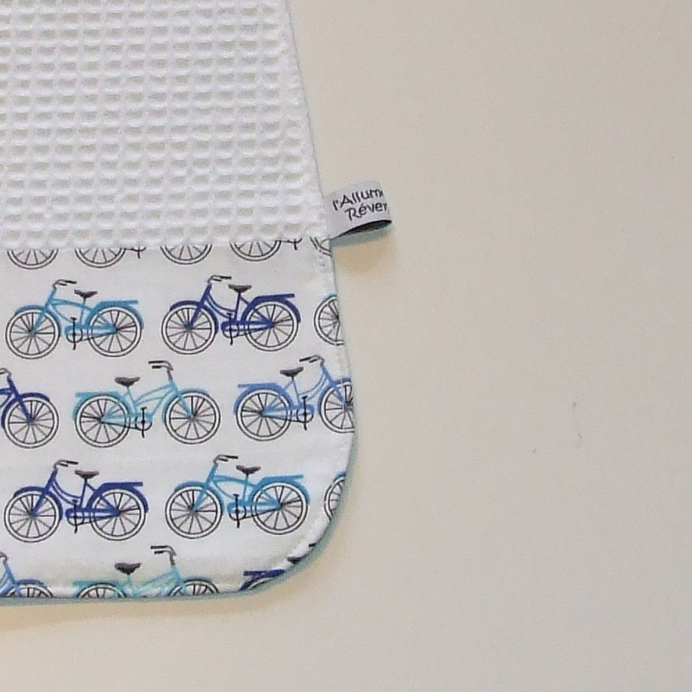 Serviette élastique imprimé vélos bleu--9995175812453