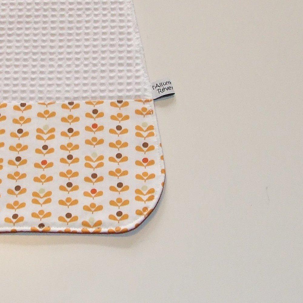 Serviette élastique imprimé fleurs vintage orange--9995175913815