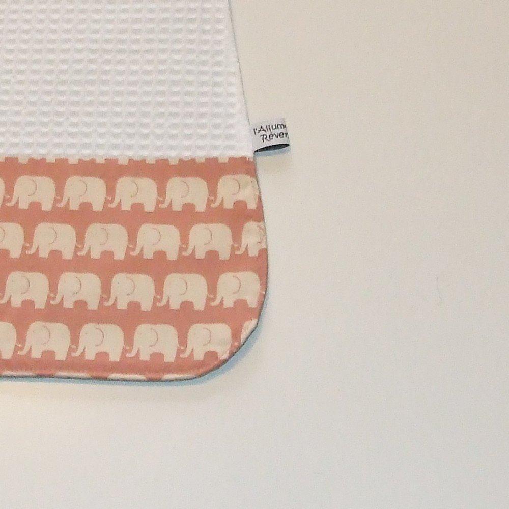 Serviette élastique imprimé éléphants rose--9995175799228