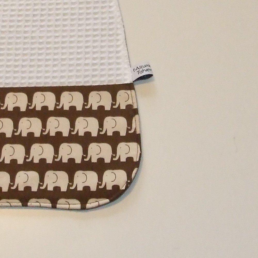 Serviette élastique imprimé éléphants marron--9995175800863
