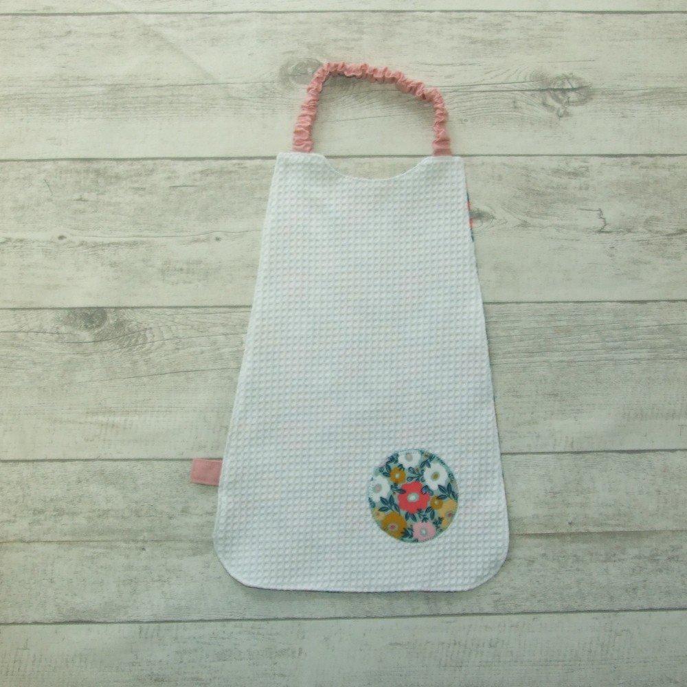 Serviette élastique imprimé fleurs fuchsia, menthe et moutarde--2226304074044