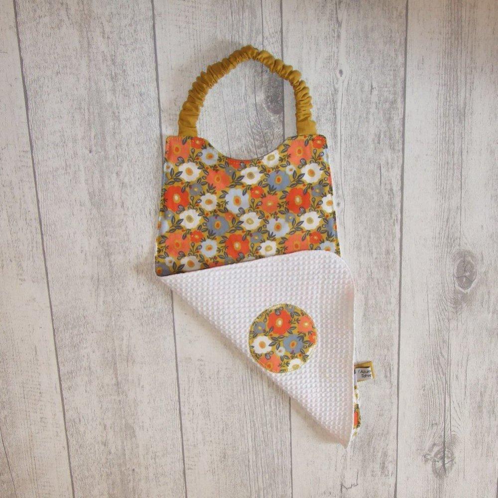 Serviette élastique imprimé fleurs orange et bleues--9995655998066