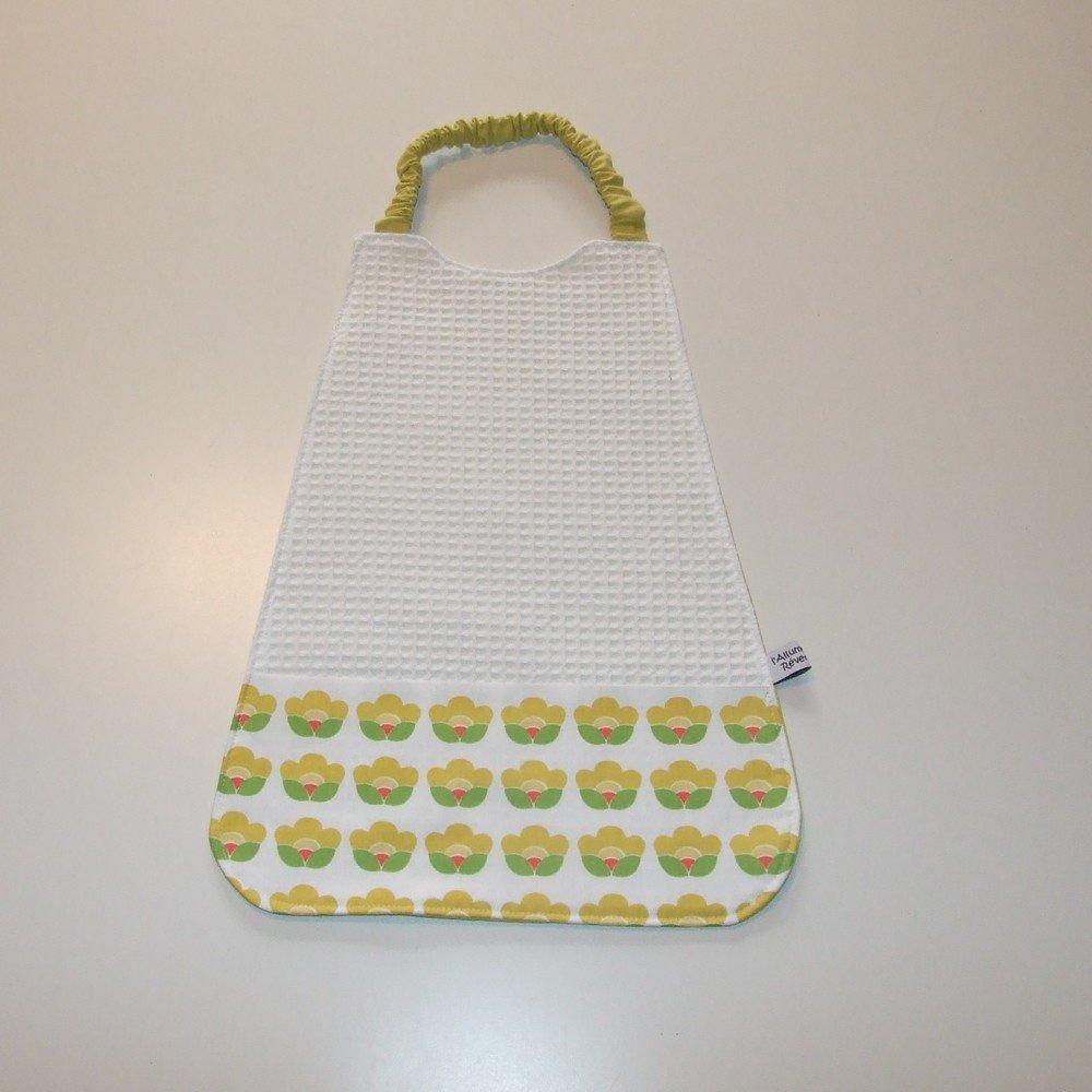 Serviette élastique imprimé fleurs vintage jaune--9995175916052