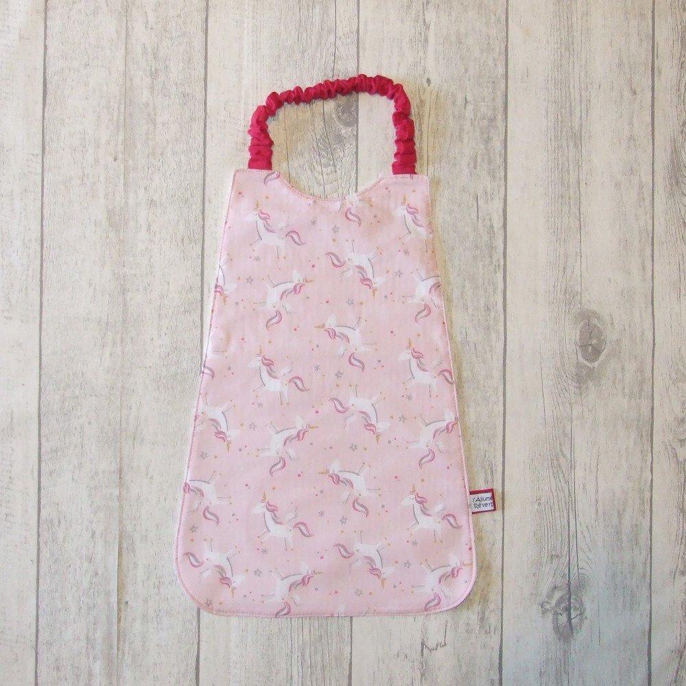 Serviette élastique imprimé licornes rose--9995961159342