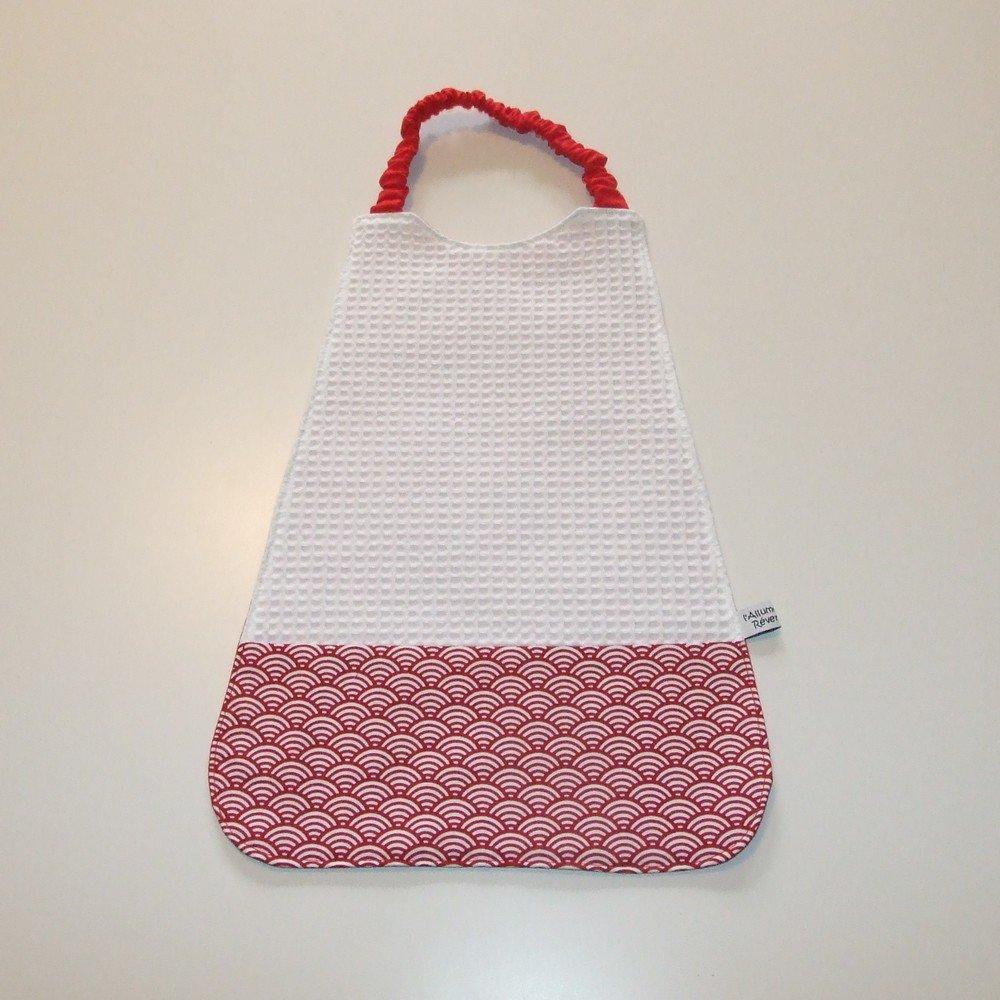 Serviette élastique imprimé vagues, tissu japonais rouge--9995175918728