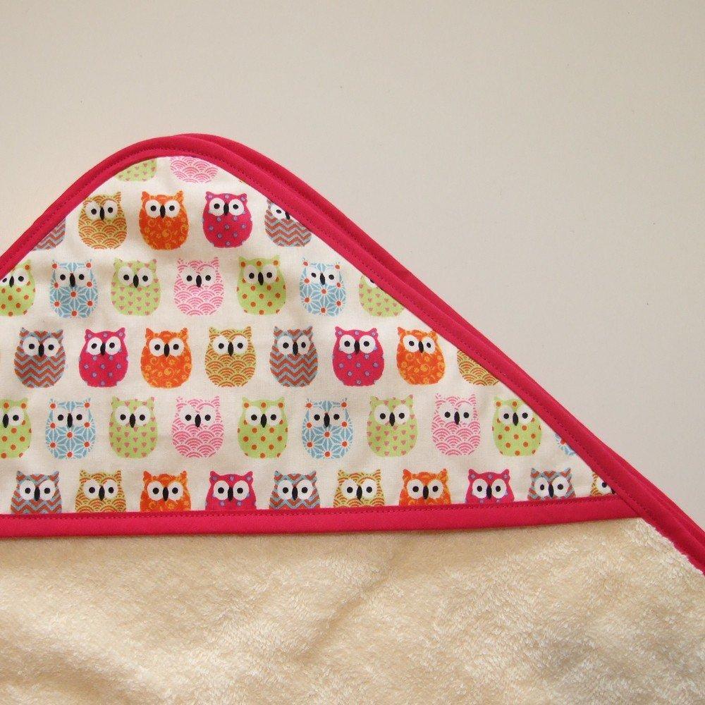 Sortie de bain en éponge imprimé chouettes multicolores--9995161208888
