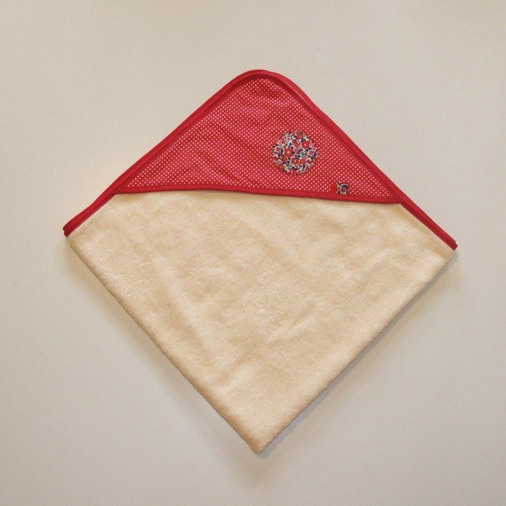 Carré de bain en éponge imprimé pois blancs sur fond rouge et Liberty--9995161210928