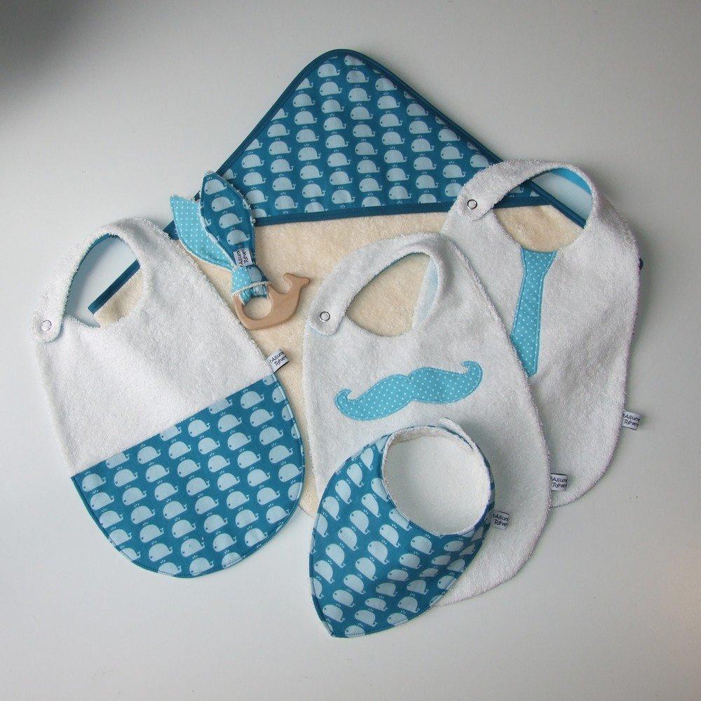 Carré de bain en éponge imprimé baleines bleu--9995161205399