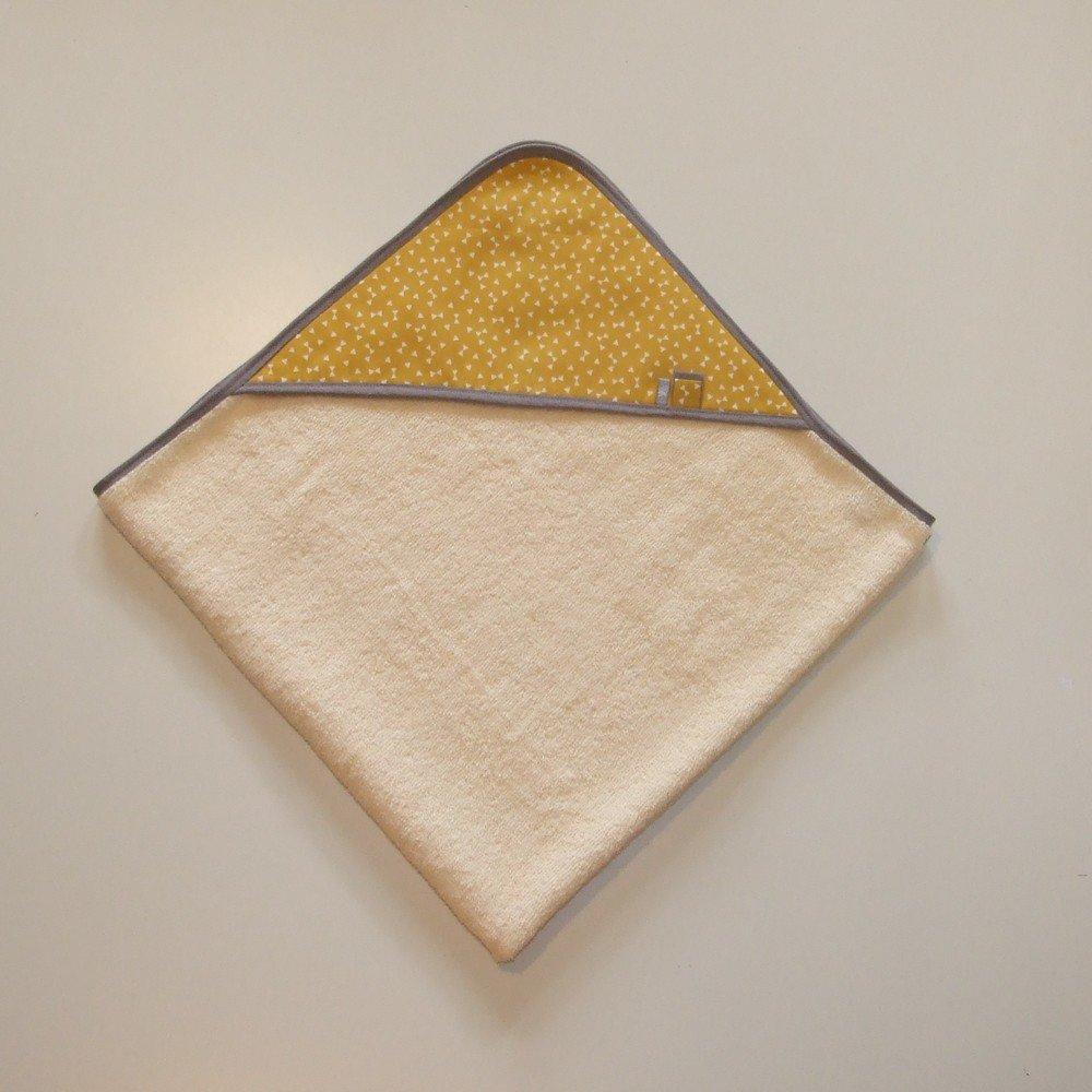 Carré de bain en éponge imprimé triangles blancs sur fond jaune moutarde et gris--9995161214049