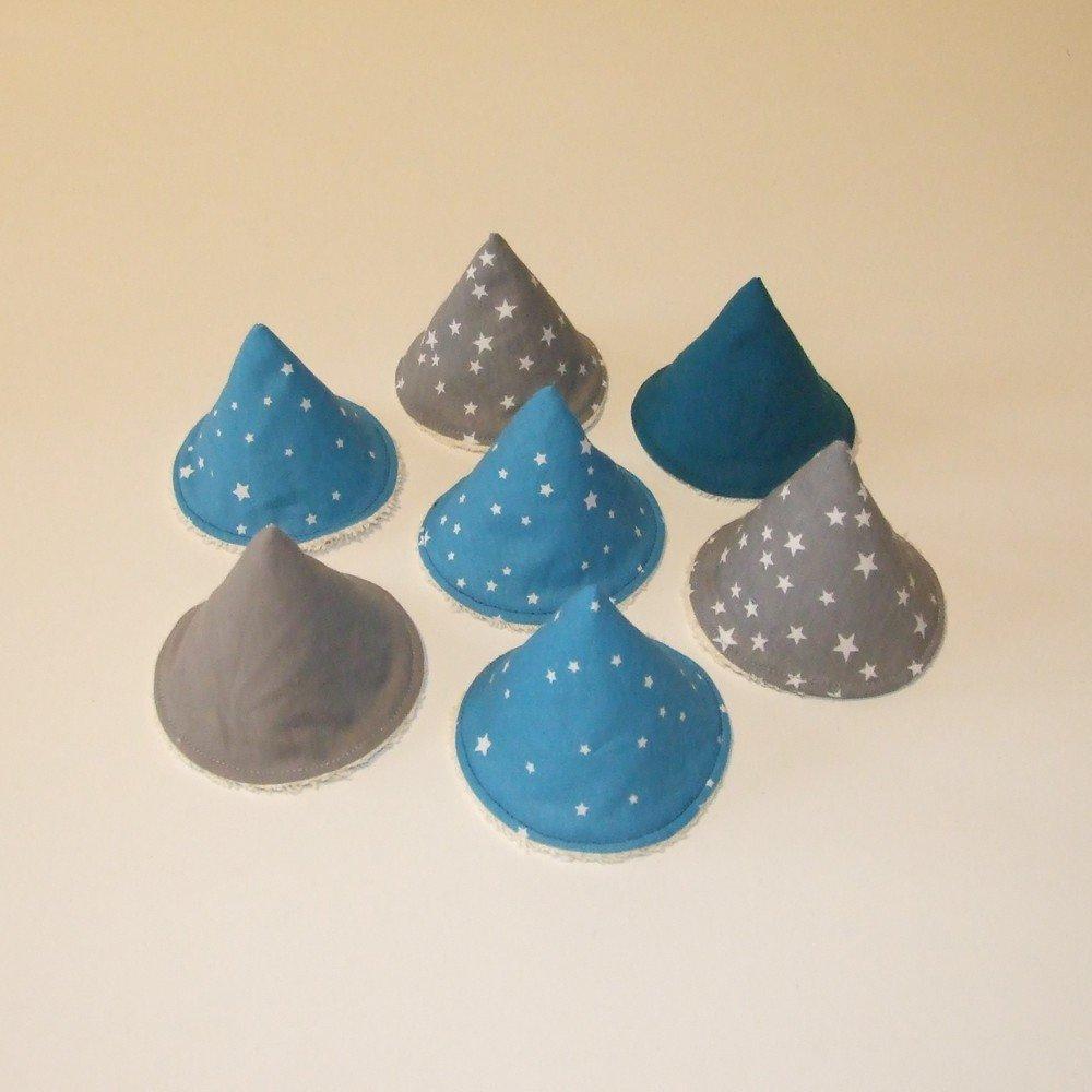 Tipi à pipi en éponge écrue, tissu étoiles, gris et bleu--9995187184975