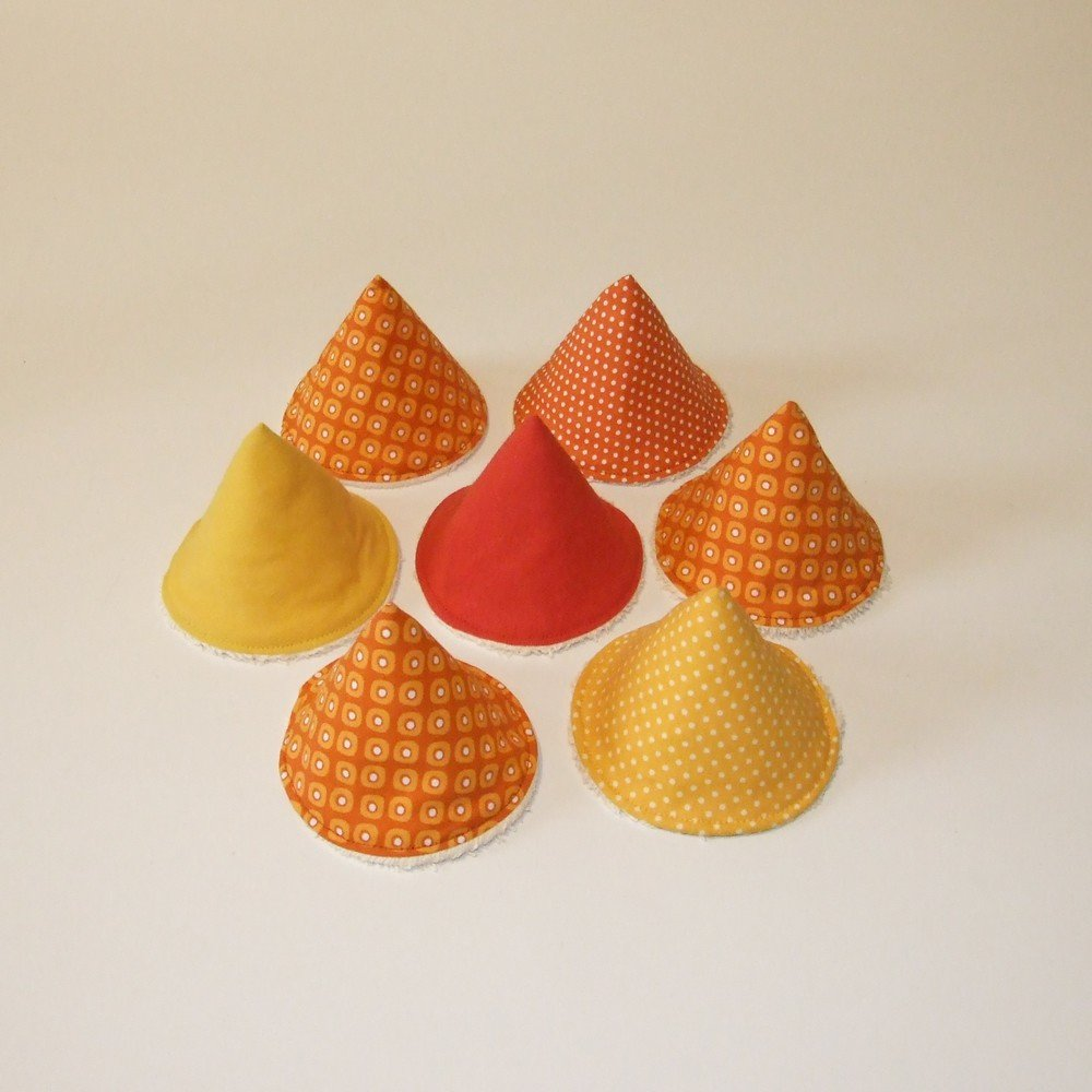 Tipis à pipi en éponge écrue, tissu orange et jaune--9995187755984