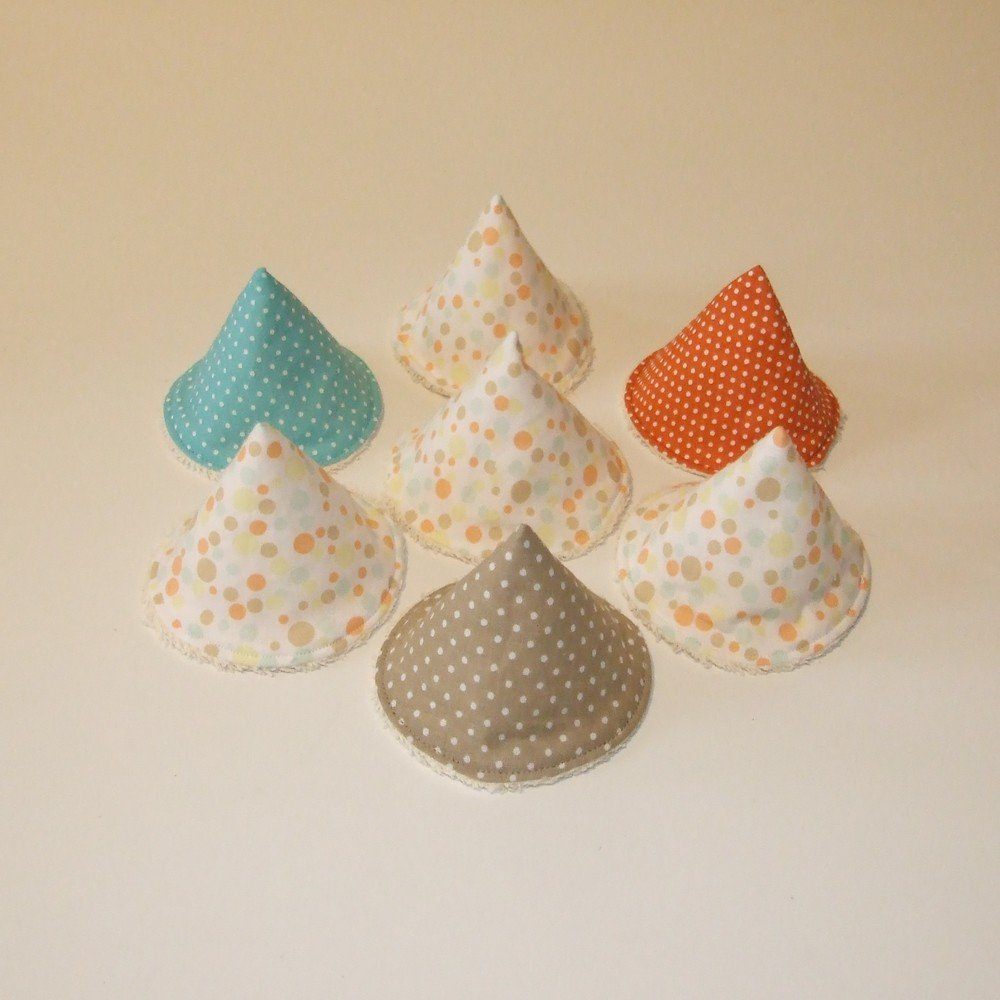 Tipi à pipi en éponge écrue, tissu pois orange, taupe,bleu--9995187180236
