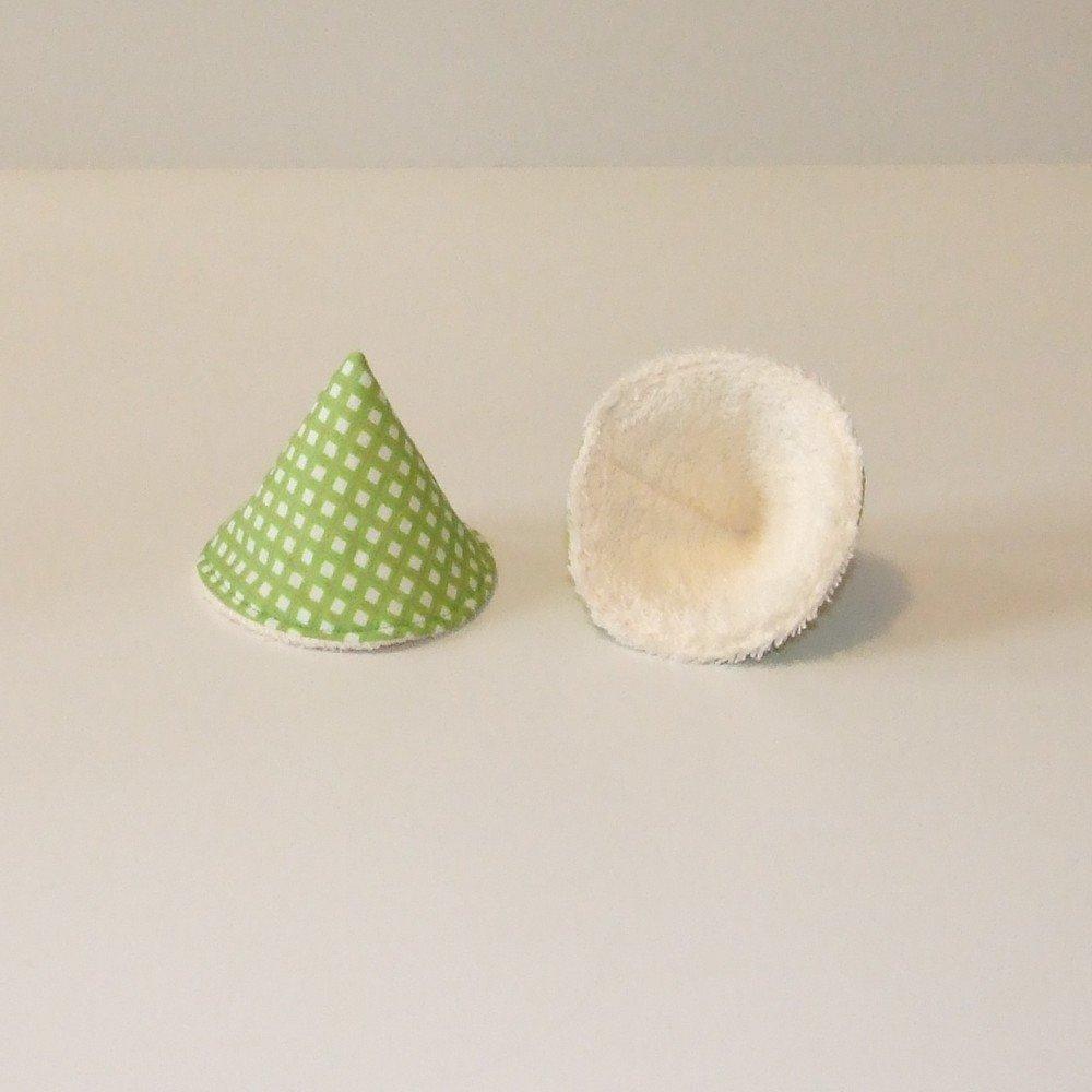 Tipi à pipi en éponge écrue, tissu vert et gris--9995187753577