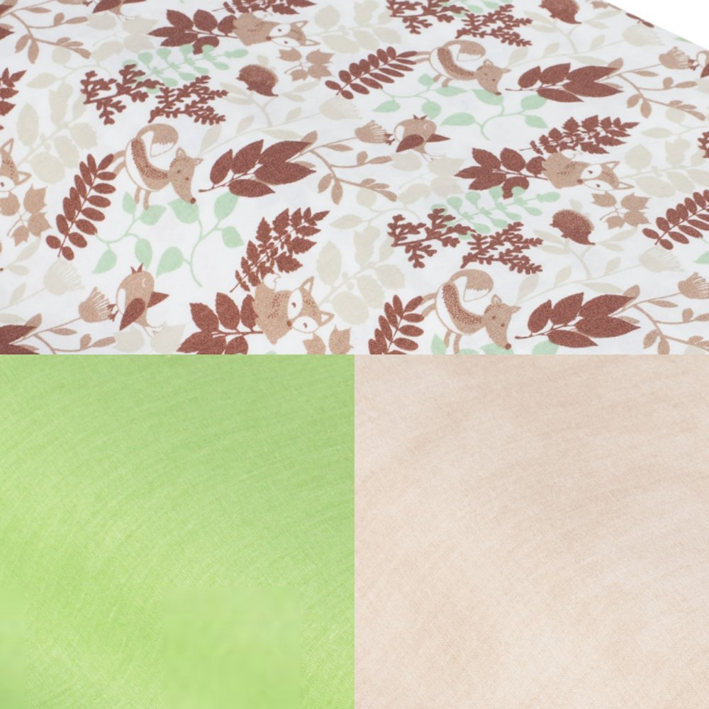 Tipi tissu animaux de la forêt/taupe et tapis tissu vert--9995544563849