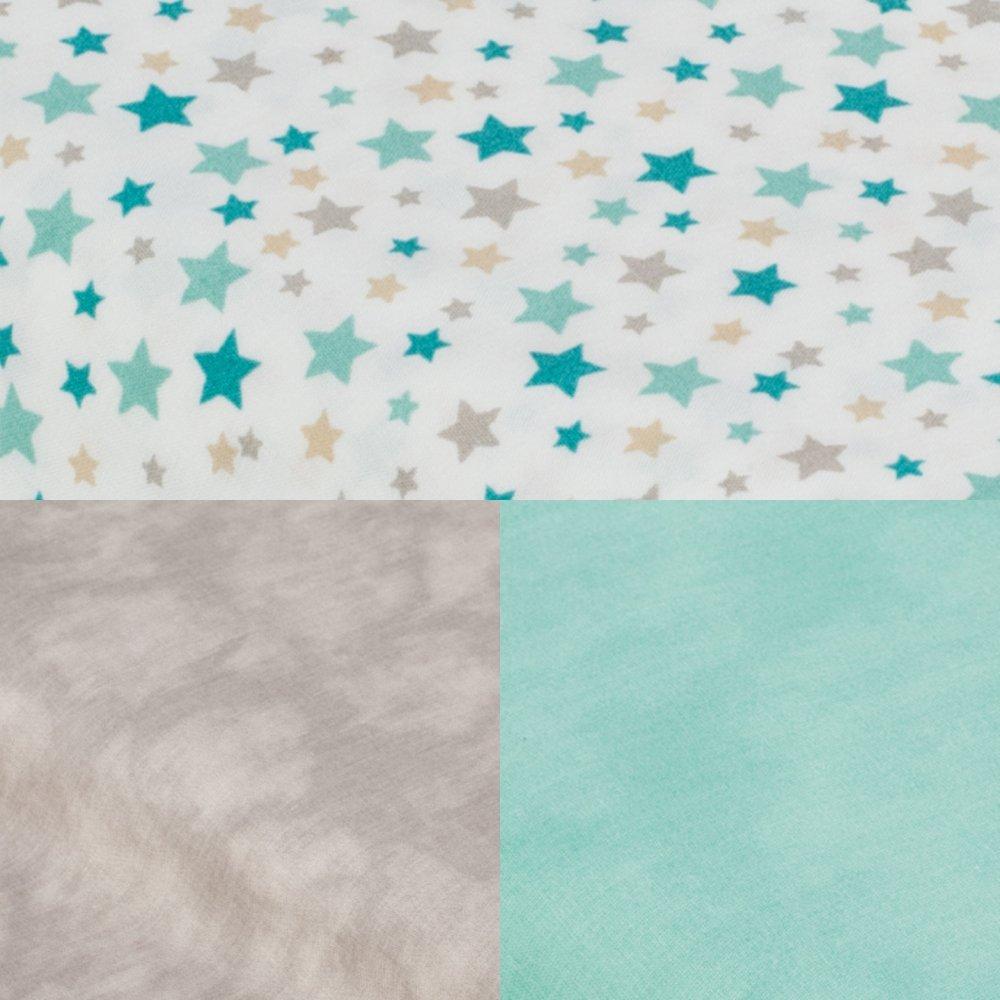 Tipi tissu étoiles/taupe et tapis menthe--9995544579574
