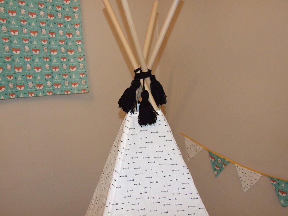 Tipi tissu flèches et Tapis tissu renards--9995465115202