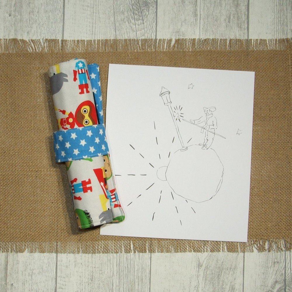 Trousse roulée pour crayons de couleurs en coton imprimé super-héros--9995158616719