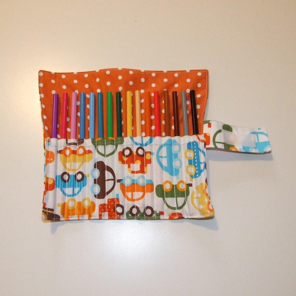 Trousse roulée pour crayons de couleurs en coton imprimé voitures--9995158612421