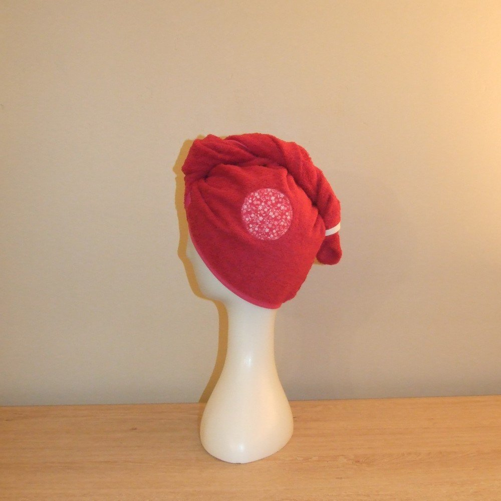 Turban de bain imprimé fleurs en éponge fuchsia--9995628578677